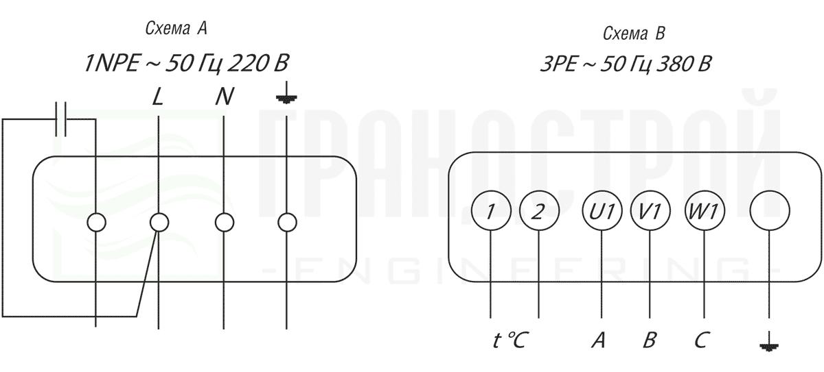Электрическая схема подключения канального вентилятора ВКП 70-40-6D 380В